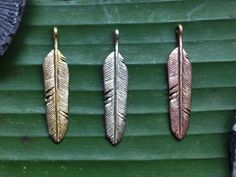 Golden Brass White Brass and Copper Feather by Feathertribeme www. Copper, Brass, Feather Necklaces, Flyers, Handcrafted Jewelry, Jewelry Crafts, Silver Plate, Hand Carved, Metallic