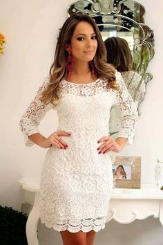 white lace dress and red accessories Casual Dresses, Short Dresses, Fashion Dresses, Summer Dresses, Formal Dresses, Dress Skirt, Lace Dress, White Dress, White Lace