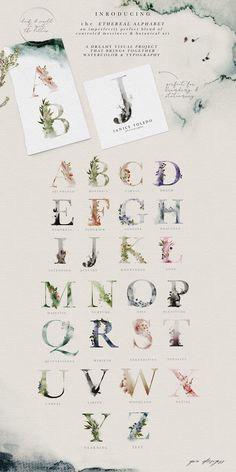 Ethereal Woodland - Graphic Set by OpiaDesigns on Professional watercolor font with all alphabet modern and vintage. This cool calligraphy script is perfect for tattoo design fun lettering typography graphic wedding and all other creative stuff. Watercolor Paper Texture, Watercolor Typography, Watercolor Illustration, Watercolor Design, Botanical Illustration, Graphic Illustration, Watercolor Paintings, Photoshop, Clip Art