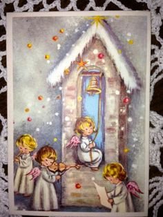Vintage Christmas Greeting Card - Alfred Mainzer Angels EB1729