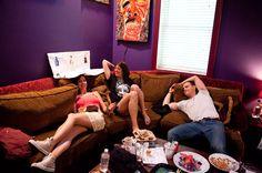 Meredith Stepien, Jaime Lyn Beatty and Joe Walker relax in the dressing room between rehearsal and Meet & Greet. // via Billboard