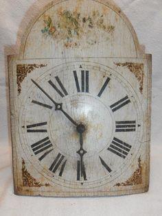 Staré dřevěné malované hodiny , 26x 20cm, bez kyvadla a závaží, nezkoušeno, stav foto