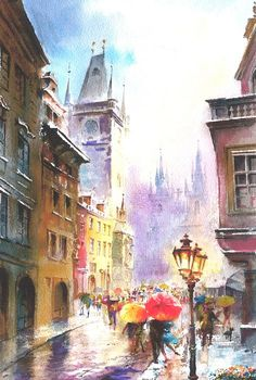 Print from Original Watercolor Painting Cityscape Art titled Rainy Day
