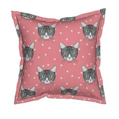 Serama Throw Pillow featuring Polka Cats Pink by lydia_meiying | Roostery Home Decor