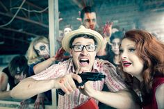 Zombie Apocalypse engagement via Rock N' Roll Bride