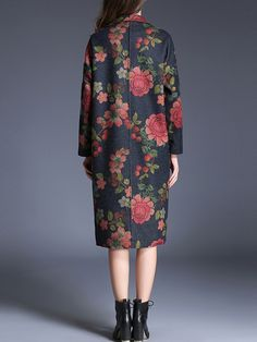 Buy Multicolor Lapel Flowers Print Pockets Coat from abaday.com, FREE shipping Worldwide - Fashion Clothing, Latest Street Fashion At Abaday.com