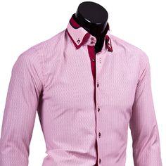 Розовая приталенная сорочка с двойным воротником баттен-даун купить недорого в Москве