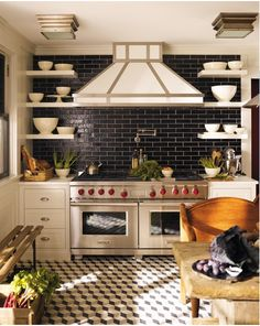 Graphic black & white -  striking yet simple features. Our Glazed Thin Brick would wear black so well...