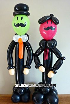 Aren't these balloon characters funny? Great for a Mustache party but they could also make an appearance as waiters for any celebration! Design by Sue Bowler  #balloon #mustache