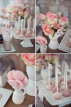 Flowers and desserts in pale pink with milk glass.
