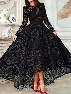Ericdress A-Line Long Sleeve Asymmetrical Lace Evening Dress