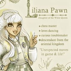 Liliana Pawn ~ The Princess of the White Kingdom is a torn and kind-hearted young lady, but a little bit cheeky. She is a passionate dancer. No matter if a elegant waltz or a mysterious eastern dance, she honors both of the cultures of her family. Her best friend is her older brother Luciano with whom she often causes a little bit of chaos ⭐️ #lilianalilypawn #art#oc#originalcharacter#topsyturvywonderland #design#whitekingdom#story#fairytale#everafterhigh#princeivy