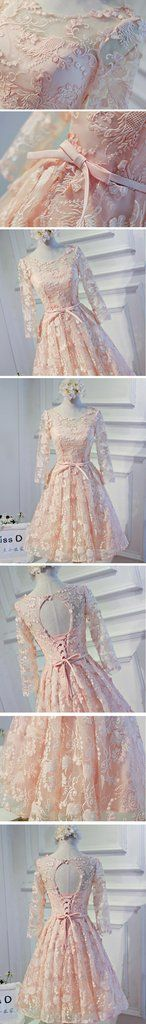 Long Sleeve Light Peach Open back Lace Cute Homecoming Prom Dresses, A – LoverBridal