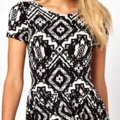 {asos} Black/White Skater Geo-Tribal Print Dress NWT Comfortable and Chic Casual ASOS Skater Dress In Geo-Tribal Print - Print / US 4. 96% Viscose, 4% Elastane ASOS Dresses