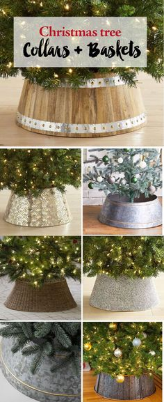 Christmas Tree Collars and Baskets. Forget the tree skirt. Works with artificial christmas trees and real christmas trees. #FarmhouseChristmas