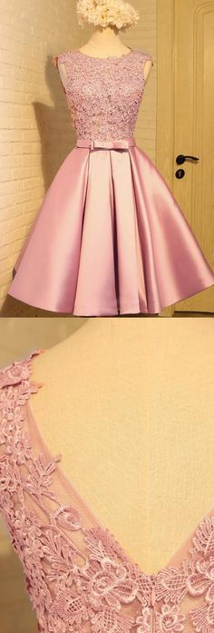 Prom Dresses 2017, Short Prom Dresses, 2017 Prom Dresses, Pink Prom Dresses, Prom Dresses Short, Short Pink Prom Dresses, Pink Homecoming Dresses, Homecoming Dresses 2017, Short Homecoming Dresses, Pink Party Dresses, 2017 Homecoming Dress Appliques Bowknot Satin Short Prom Dress Party Dress