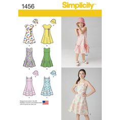 Child's and Girls' dress with zippered back and flared skirt can be made with short sleeves, sleeveless, or with double spaghetti straps and bow. Pattern comes with hat in three sizes: S, M, and L. Simplicity sewing pattern.