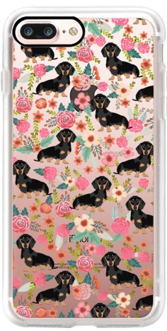 Casetify iPhone 7 Plus Classic Grip Case - Doxie puppy dog breed cell phone case florals dachshund pet friendly must haves by Pet Friendly #Casetify