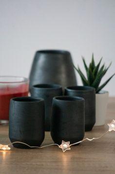 Espresso Shot, Planter Pots, Vase, Ceramics, Unique Jewelry, Handmade Gifts, Vintage, Black, Home Decor