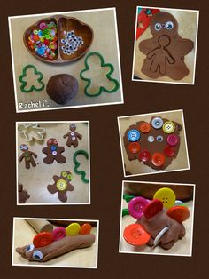 Gingerbread Dough with colourful buttons & googly eyes along with ginger scented dough. Gingerbread Dough, Gingerbread Cookies, My Family Topic, Cloud Dough, Traditional Tales, Air Dry Clay, Eyfs, Fairy Tales, Arts And Crafts