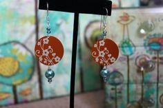 Orange and Turquoise Earrings by dimples211 on Etsy, $13.00