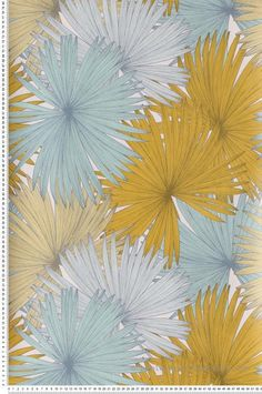 Yellow and blue green coconut wallpaper – Jungle de Caselio