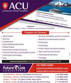 Study in Australia at Australian Catholic University and let your dreams reach a new level. The college is offering some amazing courses, check them out now. To know more or apply, visit www.futurelinkconsultants.com or call +91 9998224688. #FutureLinkConsultants Colleges In Australia, Toronto, Biomedical Science, Catholic University, Visa, Midwifery, Ielts, Philosophy, Medicine