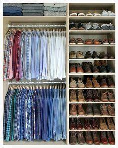 Small walk in closet ideas and organizer design to inspire you. diy walk in closet ideas, walk in closet dimensions, closet organization ideas. Walk In Wardrobe, Wardrobe Design, Small Wardrobe, Wardrobe Ideas, Men Closet, Closet Clothing, Shoe Rack In Closet, Women's Clothing, Running Clothing
