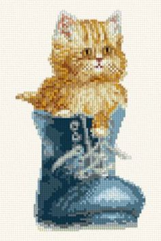 Curious Kitten - Cats cross stitch pattern designed by Marv Schier. Category: New.