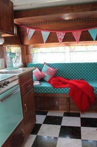 Love these colors and the floor! 1967 Yellowstone Camper remodel by homemaderenata.this looks very much like our first camper. Seeing all the vintage photo's makes me miss it! Vintage Camper Interior, Interior, Decor, Camper Living