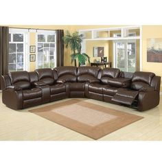 WANT THIS! @Overstock - This comfortable three-piece reclining sectional consist of a double reclining sofa, wedge and double reclining loveseat with storage console. This sectional is covered in a rich chocolate color covered Bonded Leather.http://www.overstock.com/Home-Garden/Samara-3-piece-Quadruple-Reclining-Sectional/6008524/product.html?CID=214117 $1,684.99