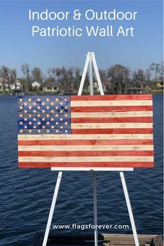 Rustic Wooden American Flag, Wooden Flag, Wooden Signs, Outdoor Wall Art, Outdoor Walls, Indoor Outdoor, Outdoor Decor, American Flag Wall Art, Americana Home Decor