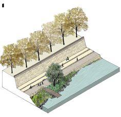 Rhone River Banks. IN SITU Architectes Paysagistes. Lyon, Ródano, França. 2003-2005.