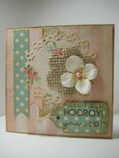 Very unique and decorative 'Hip Hip Hooray! You Did It!' card!