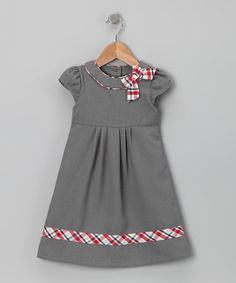 Take a look at this Donita Gray & Red Plaid Bow Dress - Infant, Toddler & Girls by Donita on #zulily today!