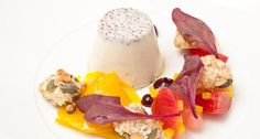 In this panna cotta, beetroot & goat cheese crumble by Chef Nigel Mendham the soothing creaminess of panna cotta infused with fruity wholegrain mustard offers a wonderful counterpoint to the vivid tastes of roasted baby beets and crumbled goat cheese.