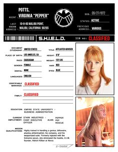 S.H.I.E.L.D. Files: Pepper Potts (requested by anonymous)