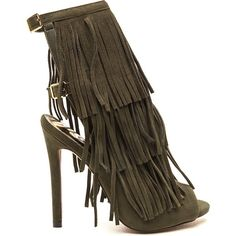 GREEN Fringe Frenzy Faux Suede Booties ($33) ❤ liked on Polyvore featuring shoes, boots, ankle booties, green, faux suede fringe boots, green boots, faux suede booties, fringe boots and faux suede boots
