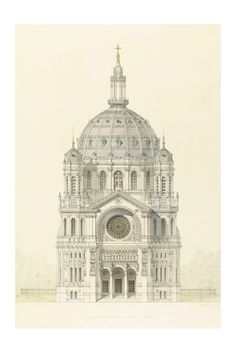 Vintage Architectural Print - Church of Saint Augustin - Religious Art Print - French Decor - Paris Gothic Cathedral Architecture Drawing by MajesticPrints on Etsy https://www.etsy.com/listing/229099782/vintage-architectural-print-church-of