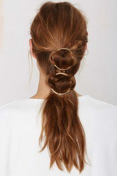 Clean Metal, number 3 in our sparkle trend. Celine Spring 2015 (image with thanks to Pinterest, listed as Nasty Gal full circle hairclips), accessories trends, hair accessories, barrett, Celine, Nasty Gal, jewellery trends, fashion blog, Blink London