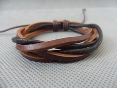 adjustable brown leather black paraffined cotton by sevenvsxiao, $3.00  http://www.etsy.com/shop/sevenvsxiao