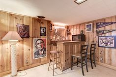 Bar in the lower level, knotty wood pine, recessed lighting