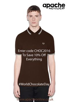What better way to celebrate #WorldChocolateDay than treating yourself to this lovely Fred Perry Twin Tipped Polo Shirt in Dark Chocolate. Also use code CHOC2016 to get 10% Off EVERYTHING! Shop in Store in #Horsham or online athttp://www.apacheonline.co.uk/prod/pls_0295_fp/Fred-Perry/M3600-Slim-Fit-Twin-Tipped-Pique-Polo-Shirt