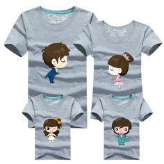 Family Matching Clothes Dad & Mom & Son & Daughter Cartoon Family Outfits