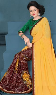 Dictate your style statement with the seasons latest trends by dolled up in this brown and yellow color georgette silk printed half n half sari. That you can see some intriguing patterns done with lace and printed work. #ethnicdesignsarees #trendycasualsaree #printedcasualsari