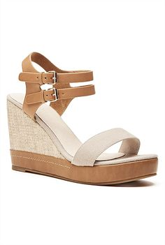 Casual elegance is simple with the Gabrielle Wedge. The colour block design features a canvas wedge with leather double ankle strap and cable stitch sole detailing. Keep it laidback with a maxi or cuffed boyfriend jeans for off duty cool. Summer Wedges, Casual Elegance, Boyfriend Jeans, Ankle Strap, Latest Trends, High Heels, Block Design, Colour Block, Playsuit
