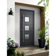 Malmo Ultimate External Grey Front Door with Outer Frame Modern Entrance Door, Modern Exterior Doors, Modern Front Door, House Front Door, Front Door Design, Entry Doors, Garage Doors, Grey Front Doors, Wooden Front Doors