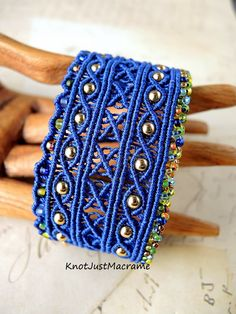 Argus micro macrame cuff in blue by Sherri Stokey of Knot Just Macrame