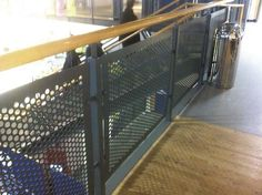 Perforated Metal Handrail Panels  Perforated steel is extremely versatile and applies itself to a variety of applications such as balustrade infill panels, railings infill panels, acoustics and sound proofing, security screens, louvres and ventilation, and air conditioning grilles.    #sheet #steel #perforatedmetal #mesh #sheets #metal #handrail #perforated Metal Fence Panels, Metal Handrails, Security Screen, Perforated Metal, Shop Fittings, Steel Mesh, Sound Proofing, Stage Design, Louvre