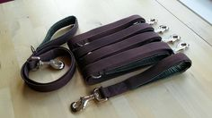 Full lead set in company colours for Rumbles Dog Walking.  5 Standard Leads on brown heavy duty webbing with added D ring stitched below the handle and a Close Control Lead.  All leads have a padded handle of close celled foam covered in waterproof fabric.